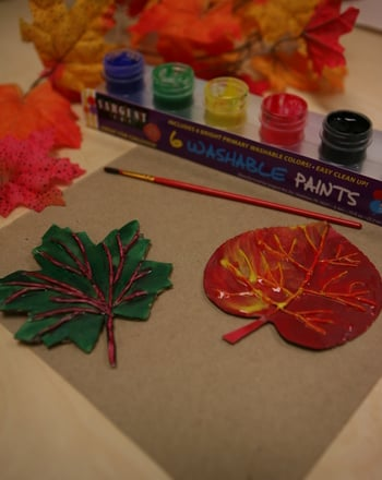 Kindergarten Holidays & Seasons Activities: Relief Sculpture: Fall Leaves