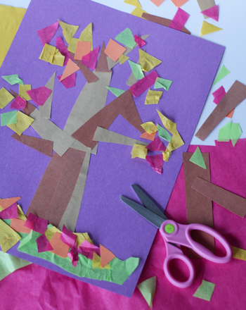 Kindergarten Holidays & Seasons Activities: Make a Fall Tree Collage
