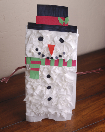 Preschool Seasons Activities: Snowman Paper Bag Puppet
