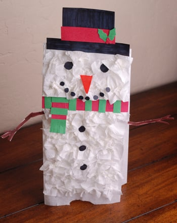 Preschool Holidays & Seasons Activities: Snowman Paper Bag Puppet