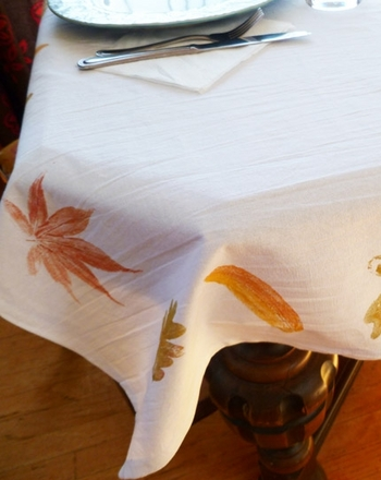 Kindergarten Holidays & Seasons Activities: Paint a Fall Leaf Tablecloth