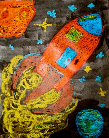 Preschool Arts & crafts Activities: Outer Space Painting