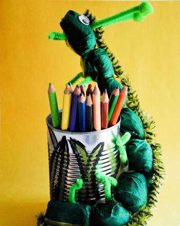 Second Grade Arts & Crafts Activities: Caterpillar Pencil Holder