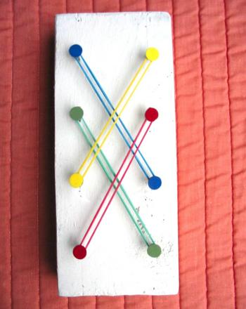 Preschool Arts & crafts Activities: Color Match: Create a Wooden Peg Board