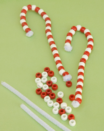 Preschool Math Activities: Make Beaded Candy Cane Ornaments