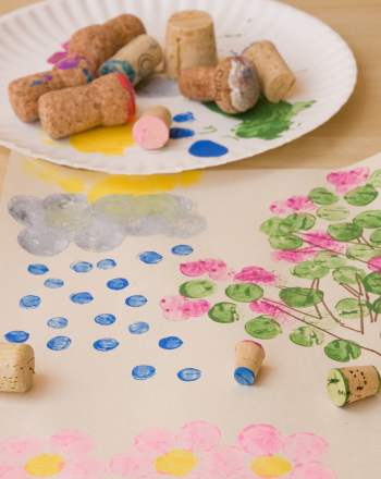 Preschool Arts & crafts Activities: Cork Stamp Art