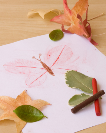 Preschool Seasons Activities: Make Leaf Rubbing Animals