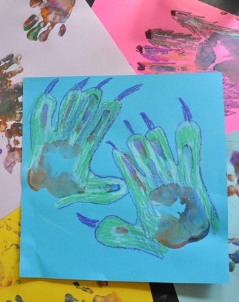 Preschool Holidays & Seasons Activities: Make a Monster Hand Print