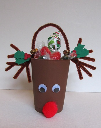 Kindergarten Holidays & Seasons Activities: Make Rudolph Treat Cups