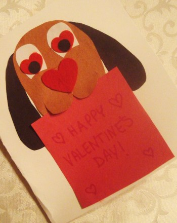 First Grade Holidays Activities: Dog Valentine Card