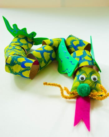 Second Grade Arts & crafts Activities: Slithering Dragon Craft