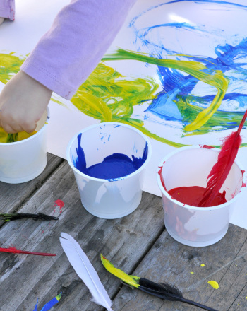 Preschool Arts & Crafts Activities: Paint with Feathers
