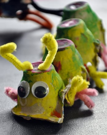 Kindergarten Arts & crafts Activities: Egg Carton Bugs