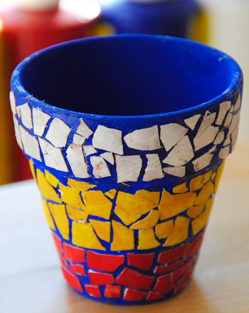 Third Grade Arts & Crafts Activities: Mosaic Flower Pots
