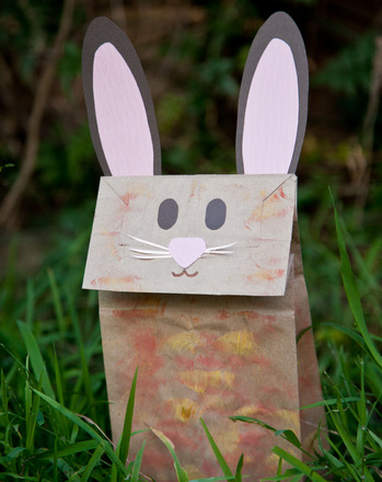 Make a bunny paper bag puppet activity for Brown paper bag crafts for preschoolers