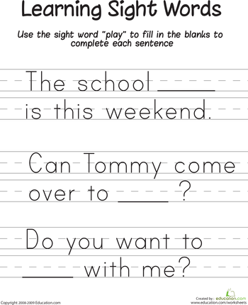 Kindergarten Sight Words Worksheets & Free Printables | Education.com