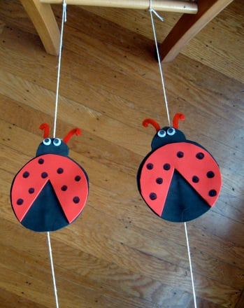 First Grade Science Activities: Make Ladybug Tightrope Racers