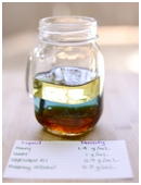 Study how liquids separate into layers by creating a liquid gradient, different density liquids separate into layers in a graduated cylinder.