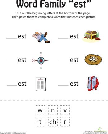 Kindergarten Rhyming Worksheets Cut And Paste For