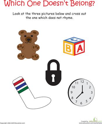 Kindergarten Rhyming Worksheets | Education.com