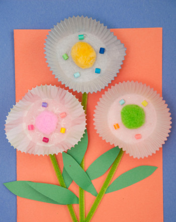 Second Grade Arts & crafts Activities: Cupcake Liner Flowers