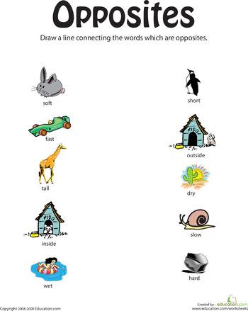 Printables Worksheets For Opposites teaching opposites education com identifying from soft to short
