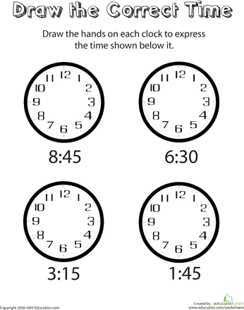 Time to Tell Time - 1st Grade Worksheets | Education.com