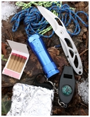 Design a survival kit. Brainstorm various survival scenarios. Address basic human requirements and natural resources. Describe each tool as well uses.
