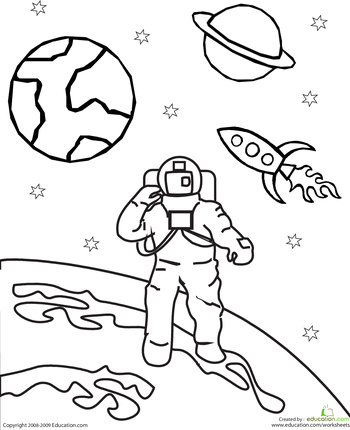 colour the outer space astronaut