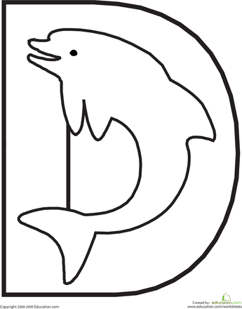 color the dolphin letter d