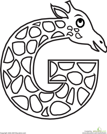 Animal alphabet letters coloring pages for G coloring page