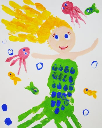 Kindergarten Arts & Crafts Activities: Paint a Handprint Mermaid