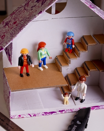 Kindergarten Arts & crafts Activities: Make a Cardboard Box Dollhouse