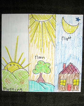 Kindergarten Arts & crafts Activities: Paint a Morning, Noon, and Night Triptych