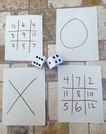 Kindergarten Math Activities: Dice Tic-Tac-Toe