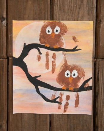 Second Grade Holidays & Seasons Activities: Handprint Owl Painting