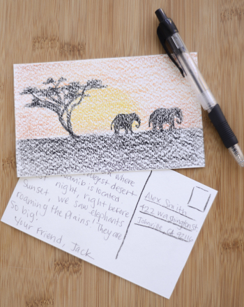 First Grade Reading & Writing Activities: Write a Postcard From Africa