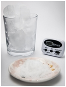 Determine whether magic salt is more effective at melting snow than regular salt. Pour one ounce of salt over the ice cubes, compare the melt downs.