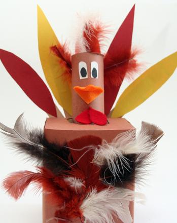 Kindergarten Holidays Activities: Make a Tissue Box Thanksgiving Turkey