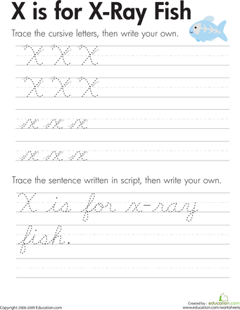 cursive handwriting x is for x ray fish