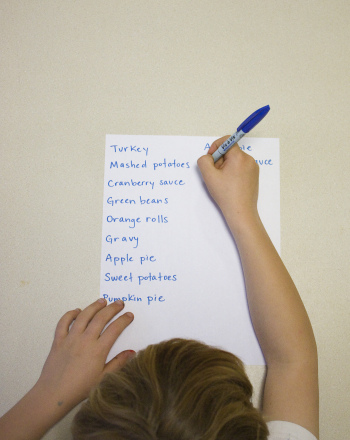 First Grade Reading & Writing Activities: Thanksgiving Food List
