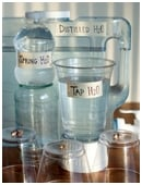 Examine whether distilled water, spring water, or regular tap water yield faster plant growth.