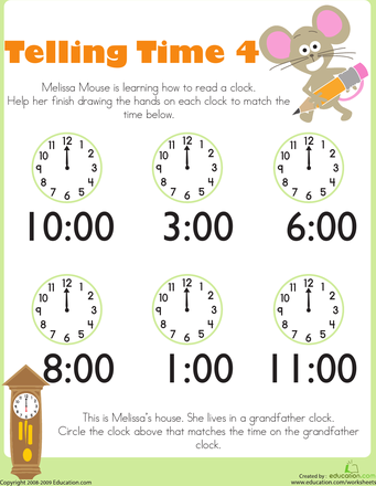 Telling Time with Melissa Mouse - Kindergarten Worksheets ...