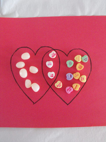 Kindergarten Math Activities: Valentine's Venn Diagram