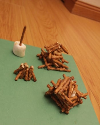 First Grade Arts & Crafts Activities: Pretzel Log Cabin
