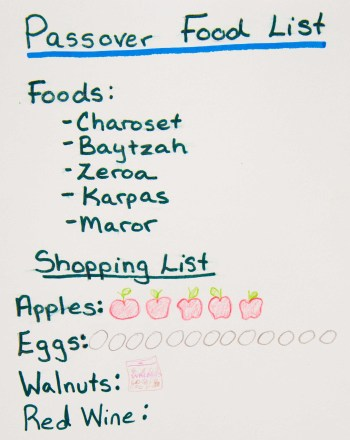 Third Grade Reading & Writing Activities: Passover Food List