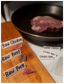 Demonstrate if  cooking destroys all bacteria that is present in raw meats such as salmonella.