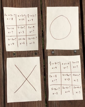 Fifth Grade Math Activities: Algebra Tic-Tac-Toe