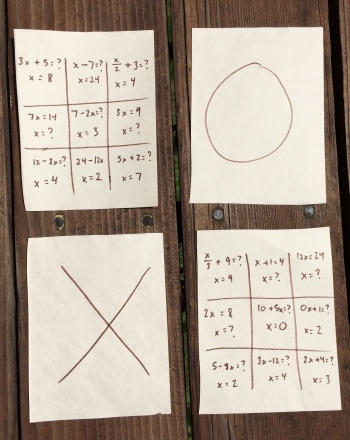 Middle School Math Activities: Algebra Tic-Tac-Toe