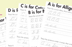 Practice cursive writing with these alphabet worksheets.